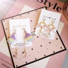 Korea Handmade Rhinestone Heart Crystal Tassel Women Drop Earrings Dangle Earrings Fashion Jewelry Accessories-JQD5 цена
