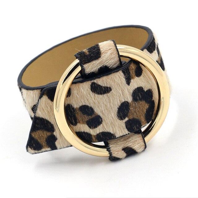Rainbery 2019 Charm Wide Leopard PU Leather Bracelets Multicolor Metal Gold Big Circle Wrap Bracelet Femme Wristband Jewelry