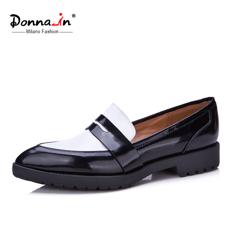 ФОТО Donna-in 2016 new spring shoes cow leather plats women's shoes black mixed white pointed loafers