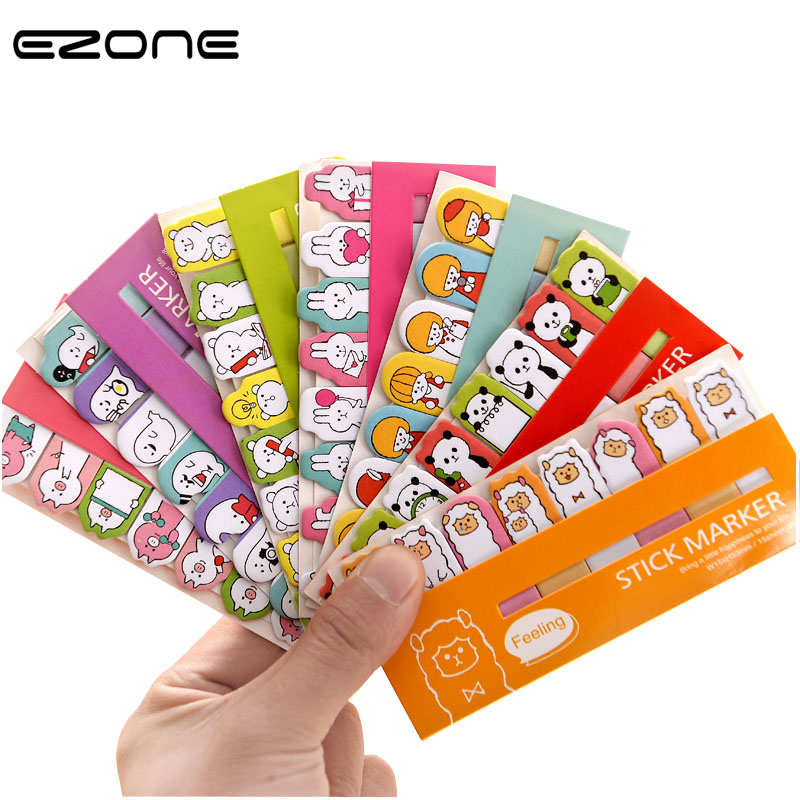 EZONE Cute Animal Sticker Paper Kawaii Printed Panda/Girl/Ranger/Bear/Rabbit/Lamb/Pig Sticky Notes Post Bookmark Stationery