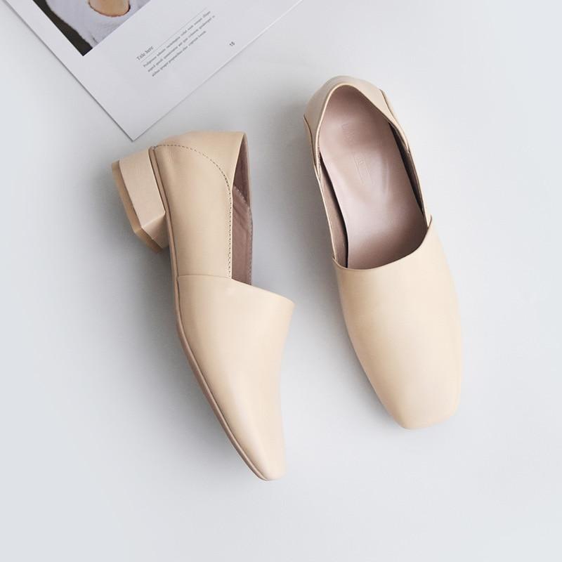 Ballet Chaussures Shehuimei Dames Femme Automne Casual Fleur Mules Beige Respirant Appartements Femmes Cuir En noir Véritable Doux D'été qSCEzUwSx