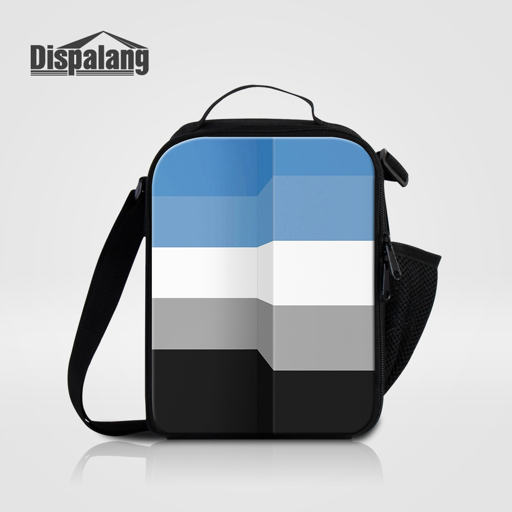 Dispalang 3D Printing Geometry Children Lunch Bags Lancheira Canvas Food Picnic Cooler Bag Kid Thermal Lunch Box Sack For School
