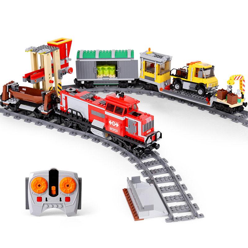 DHL 02039 Genuine City Series The 3677 Motorized Red Cargo Train Set Building Blocks Bricks Educational