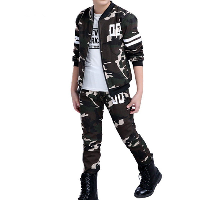Mudkingdom Boys Military Camouflage Outfits Zipper Bomber Jacket Pants Suit Teenagers Outdoor Clothing Sets Kids School Clothes striped trim zipper up bomber jacket