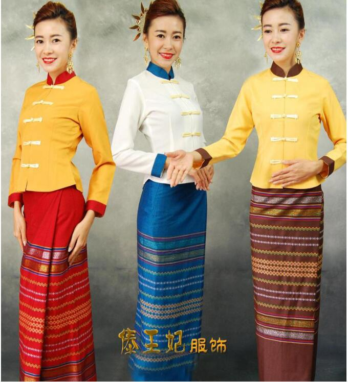 2017 Thailand Traditional Clothing Long Sleeve Uniform Restaurant Thailand