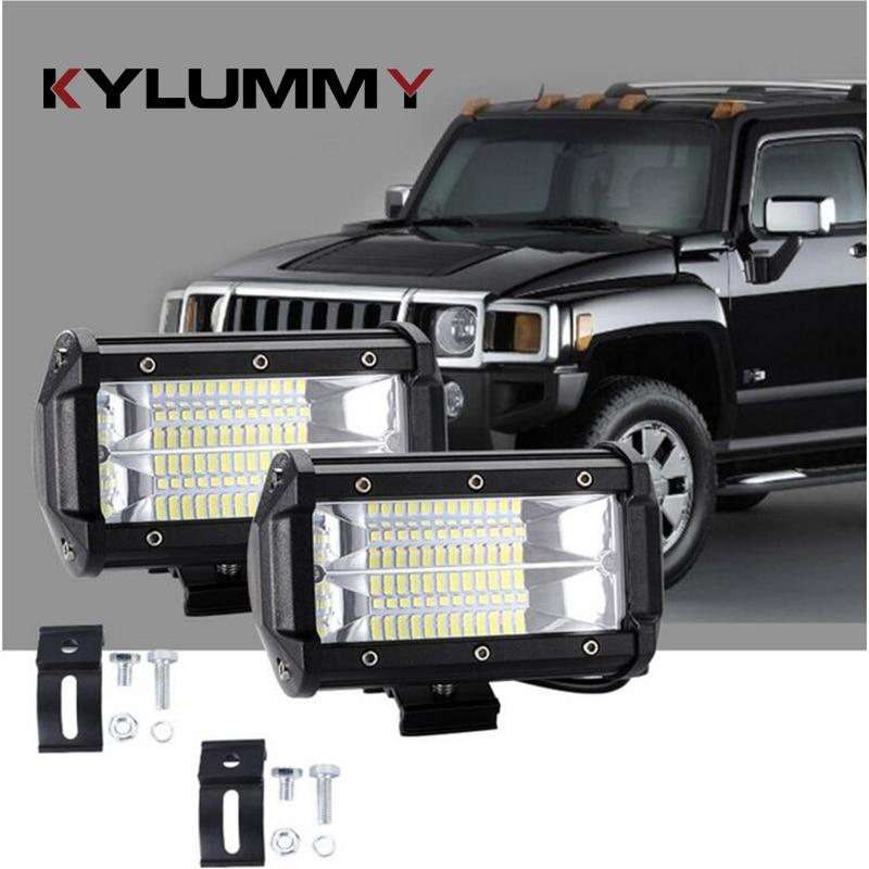 KYLUMMY 1x 5 inch 72W Car Work Light bar 12V 24V Automobile Off-road Truck SUV Boat 4WD ATV Motocycle Auxiliary Driving Fog Lamp