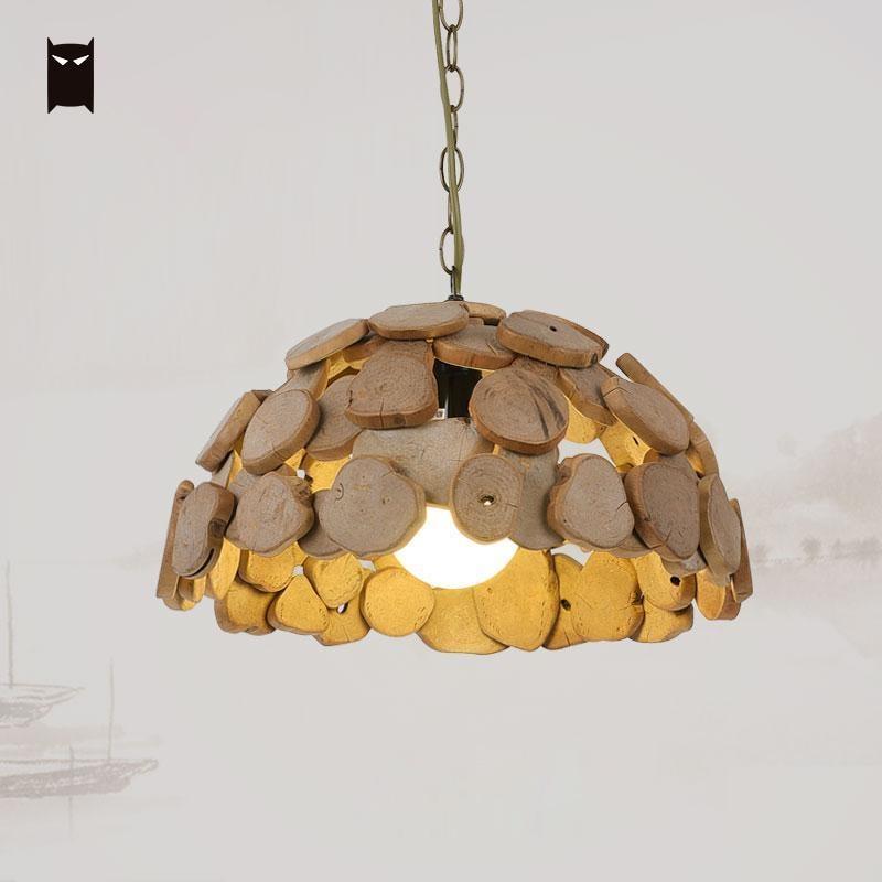 Wooden Lamp Shade Pendant Light Fixture Chain Vintage Industrial Retro Antique Handmade Hang Lighting Luminaires Edison Bulb E27