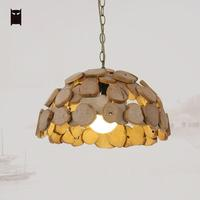 Wooden Lamp Shade Pendant Light Fixture Chain Vintage Industrial Retro Antique Handmade Hang Lighting Luminaires Edison Bulb E27