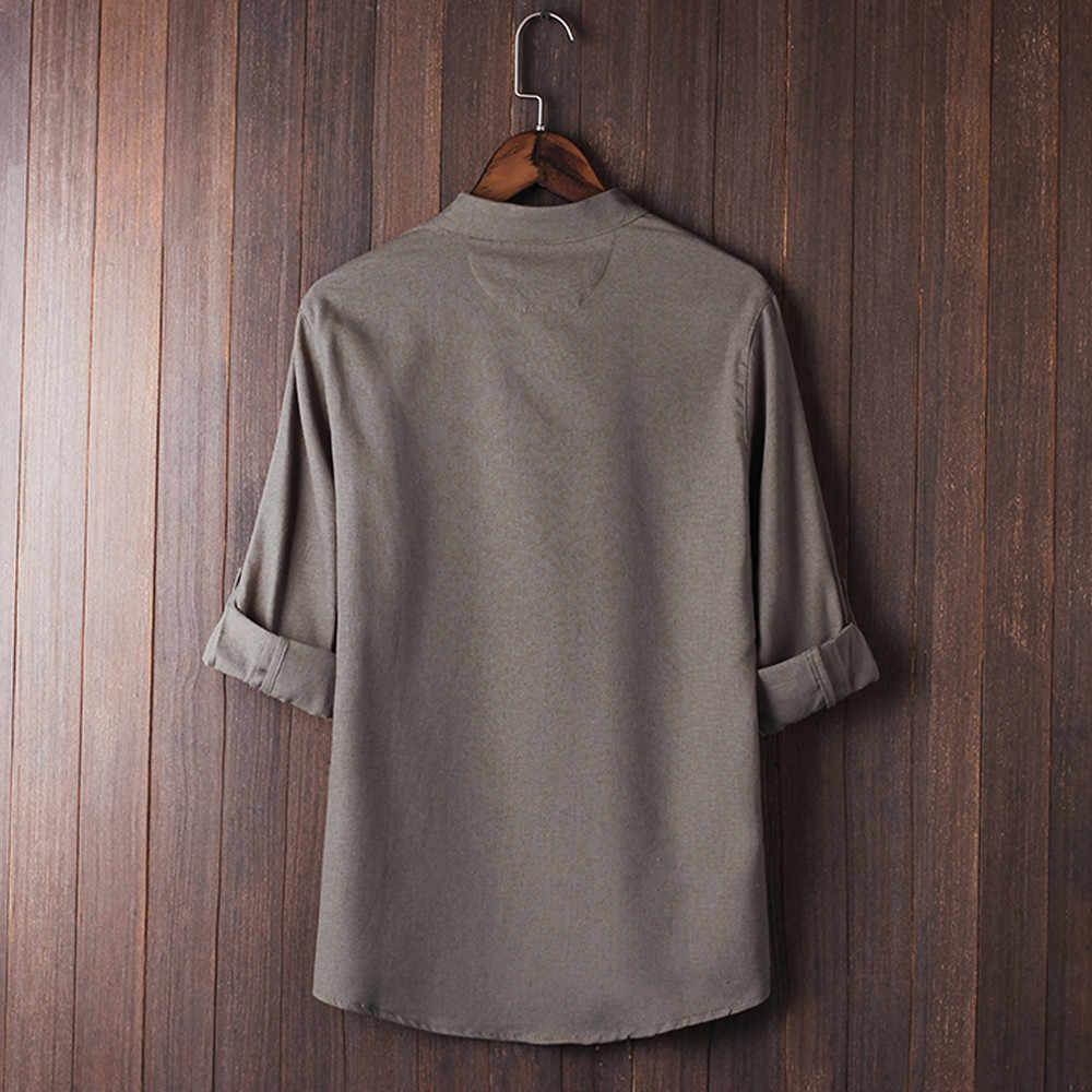 男性ブラウス綿ポリエステル O ネックスタイルブロードシャツトップス唐装 3/4 袖リネンブラウス # Z25