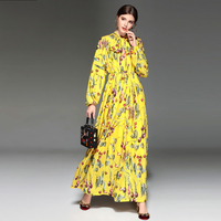 Fashion 2018 Spring Summer Women S New European Chic Style Long Sleeve Printing Long Sleeve Floor