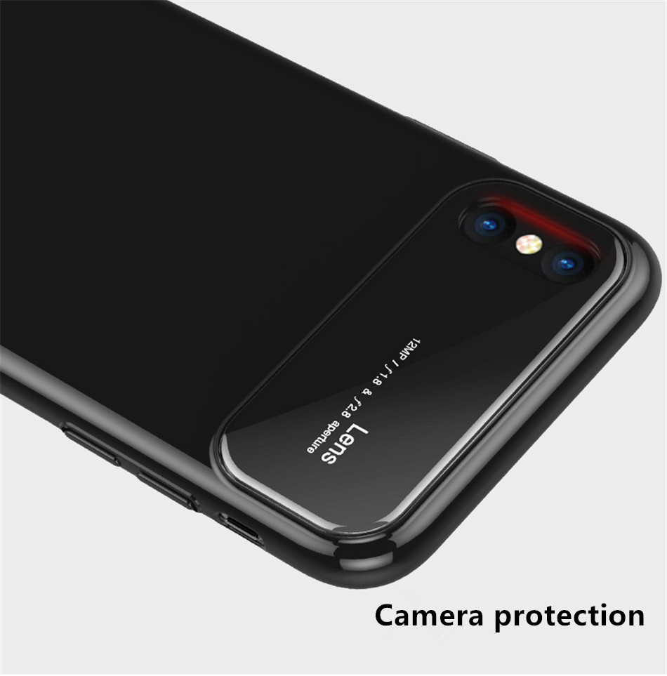 Luxury Case For iphone X 7 8 Plus 10 Tempered Glass Hard PC Hybrid Armor Cases For iphonex 10 Anti Knock Protective Phone Cover (3)