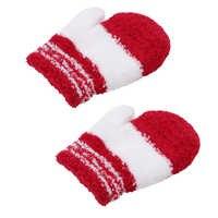 Детская одежда из флиса кораллового цвета, вязаные перчатки, зимние перчатки для мальчиков и девочек, цветные мягкие пижамы в полоску для де...
