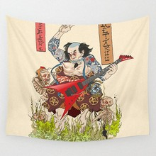 Japanese Ukiyo-e Samurai Pop Band Tattoo Cloth Flag Four-Hole Hanging paintings Wall Stickers Cafe Hotel Music Studio Decoration(China)