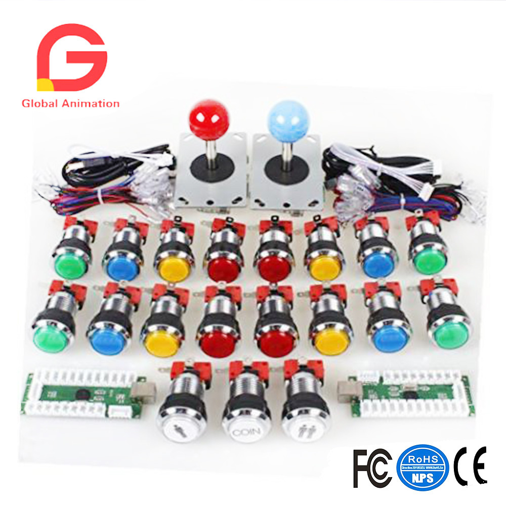 Arcade DIY Kits Parts USB Encoder Board + LED Joystick Cables + LED Lamp Buttons simas рукомойник simas arcade ar036