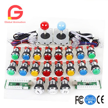 Arcade DIY Kits Partes USB Encoder Board + LED Joystick Cables + LED Botones de la lámpara