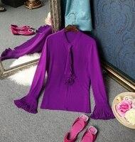 Chiffon Blouses Shirts 2019 Spring Summer New Women Ruffles Shirt Work Office Lady Flare Sleeve Purple Orange Blouse Tops Blusa