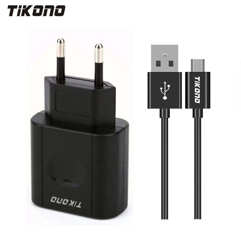 Tikono 5V 2A Universal USB-Schnellladegerät für iPhone Samsung Xiaomi Sony iPad Tablet Reisewandladegerät mit Micro-Ladekabel