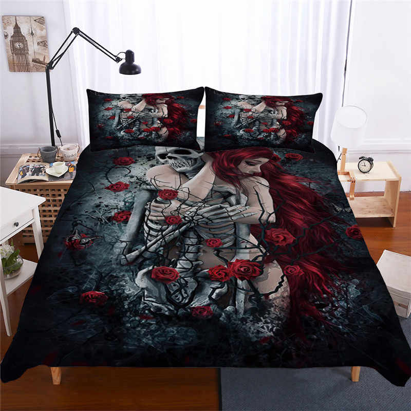 Bonenjoy Sugar Skull Bedding Set Queen Size Flower Skull Bed Linen Double Duvet Cover with Pillowcase King Size Skull Bedding