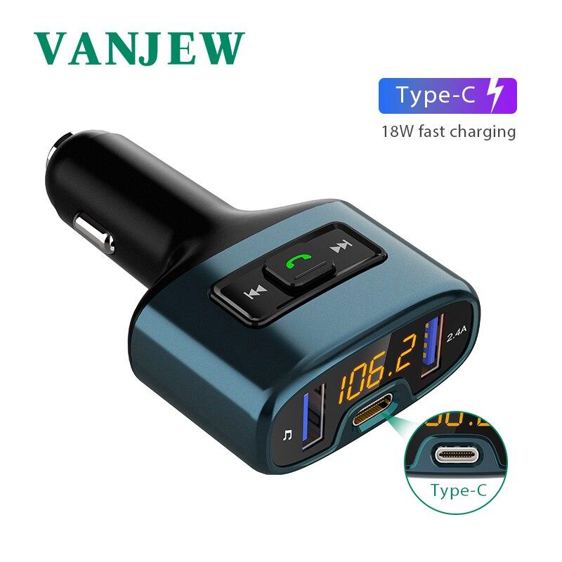 VANJEW C52 автомобильные аксессуары громкой связи Bluetooth Автомобильный fm трансмиттер автомобильный Mp3 плеер TYPE C пост заряд аудио Двойной автомобилей USB зарядка купить на AliExpress