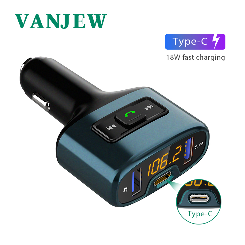Vanjew C52 Automobile Equipment Handsfree Bluetooth Automobile Fm Transmitter Automobile Mp3 Participant Kind-C Fasting Cost Audio Twin Usb Automobile Cost
