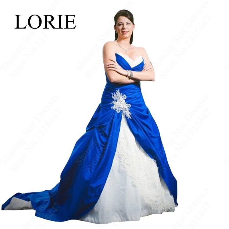 vintage royal blue and white wedding gowns dresses 2017 sweetheart lace up vestidos de noiva plus size sexy long bridal dresses