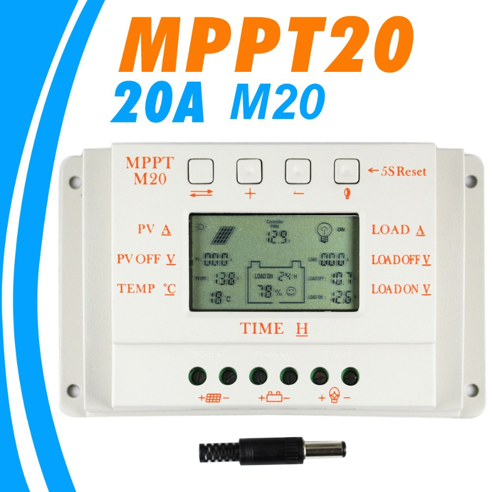 20A Solar Charge controller LCD M20 12V 24V auto work Solar Panel Battery Cells Charger Controller for Solar Home Use PV System