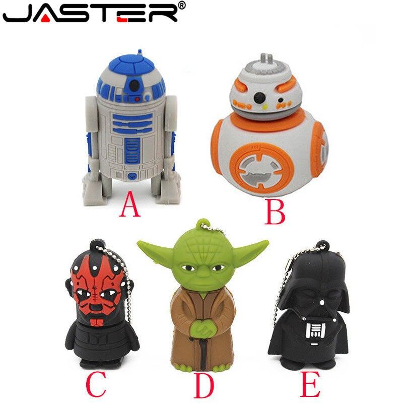 JASTER Star Wars Pendrive Series R2D2 BB-8 Robot USB Flash Drive YODA Darth Vader Memory Sticks Pen Drives 2GB 8GB 16GB 32GB