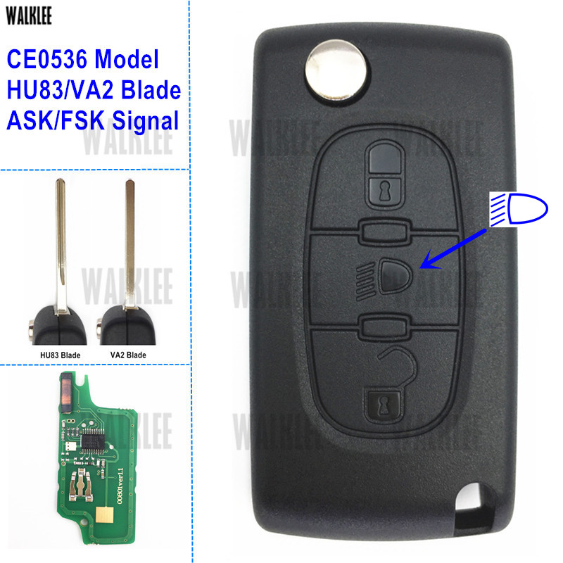 WALKLEE Remote Key Work for Citroen Vehicle C2/C3/C4/C5/Berlingo/Picasso 3BT with Light/Lamp Button (CE0536, HU83/VA2, ASK/FSK)(China)