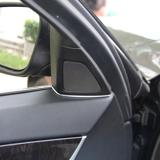 Couverture de haut-parleur pour garniture de voiture   Accessoires dintérieur chromés pour BMW série 5 f10 520li 525li 530 2011-2017 2 pièces, style de voiture
