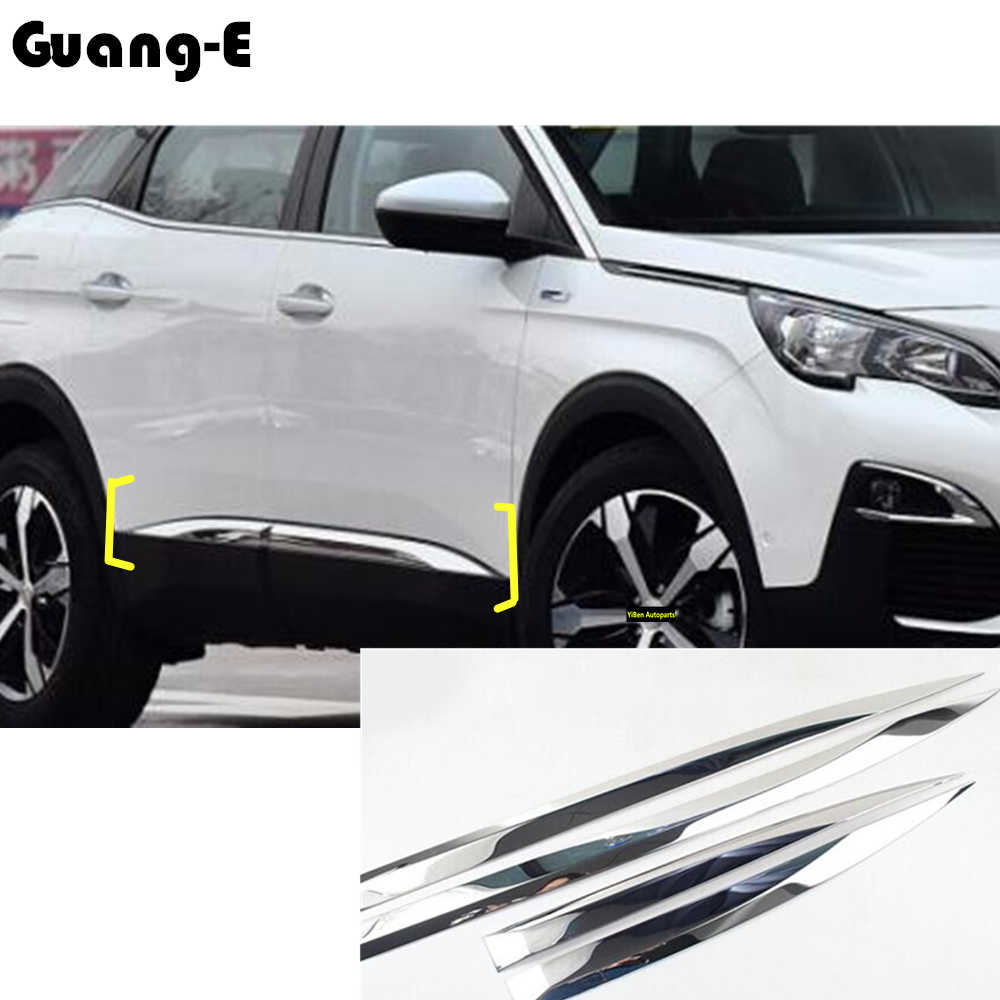 Voor Peugeot 3008 Gt 3008GT 2016 2017 2018 2019 Auto Detector Rvs Side Door Body Trim Stick Strip Molding 4 Pcs