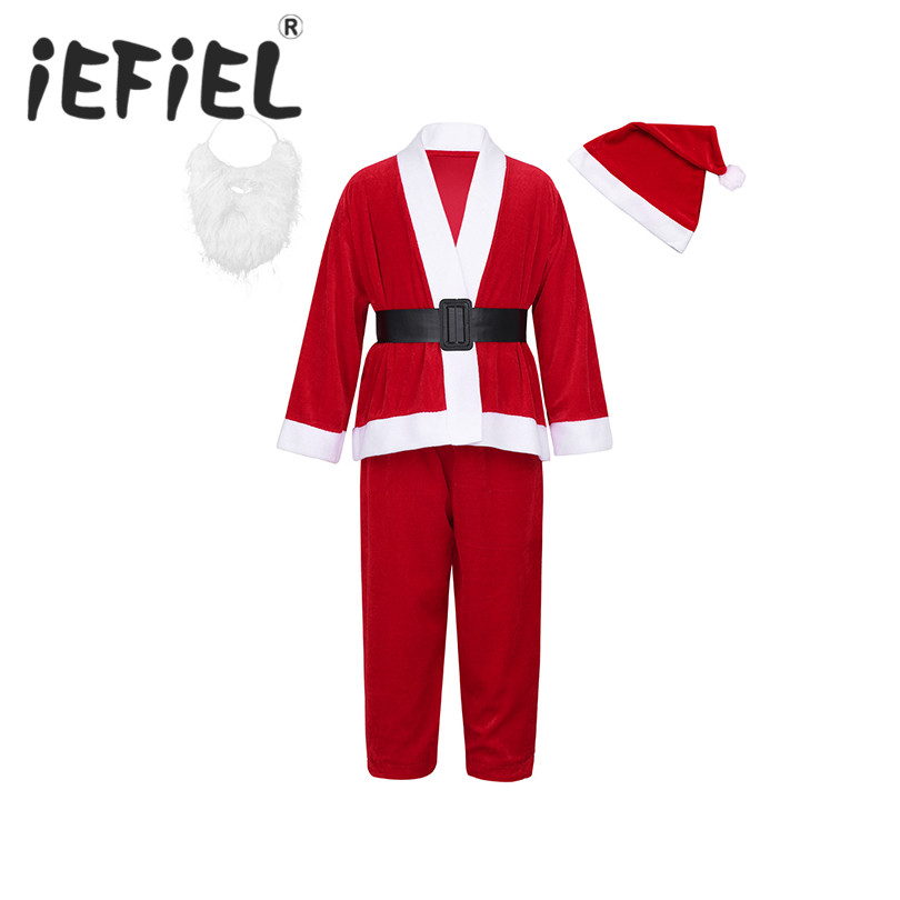 iEFiEL Kids Boys Girls Children Long Sleeves Christmas Xmas Santa Claus Costumes Outfits With Santa Hat Beard Set for Dress Up