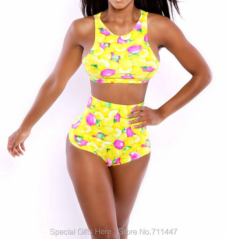 bd8523a43 Yellow Neon Bright Color High Waist Bikini Set Crop Tops Print Bathing Suit  Bandage Bikini Set Push Up Swimwear Pinup Swimsuit