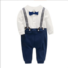 купить Spring new baby romper boy fake two-piece bib bow tie gentleman baby jumpsuit long-sleeved clothes for 0-2 years old boy baby дешево