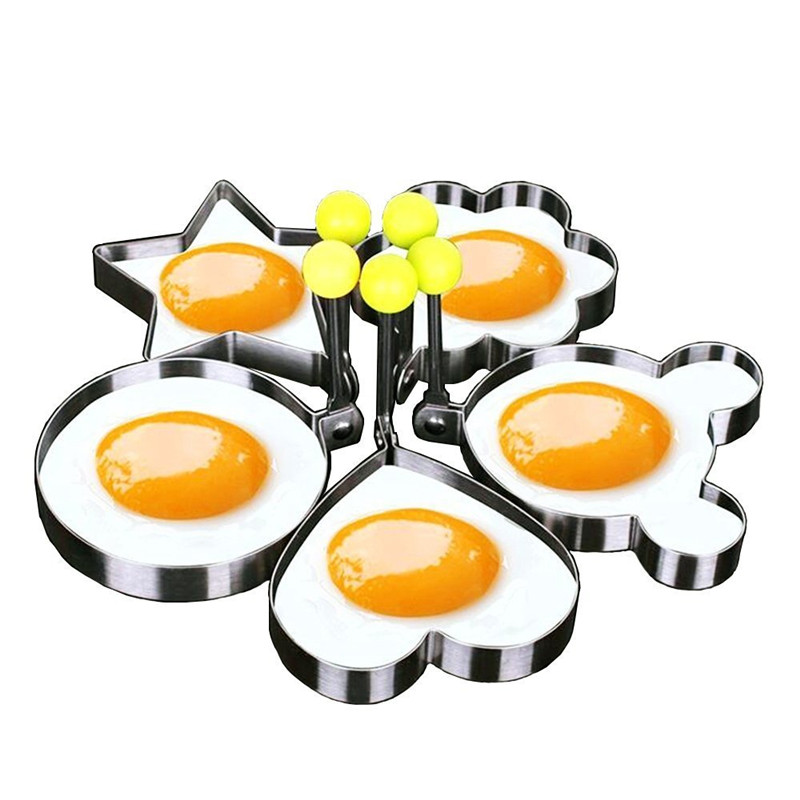 5 pcs/ensemble en acier Inoxydable Mignon En Forme Oeuf Moule Pancake Anneaux Moule Cuisine Outil Oeuf Panckae Anneaux