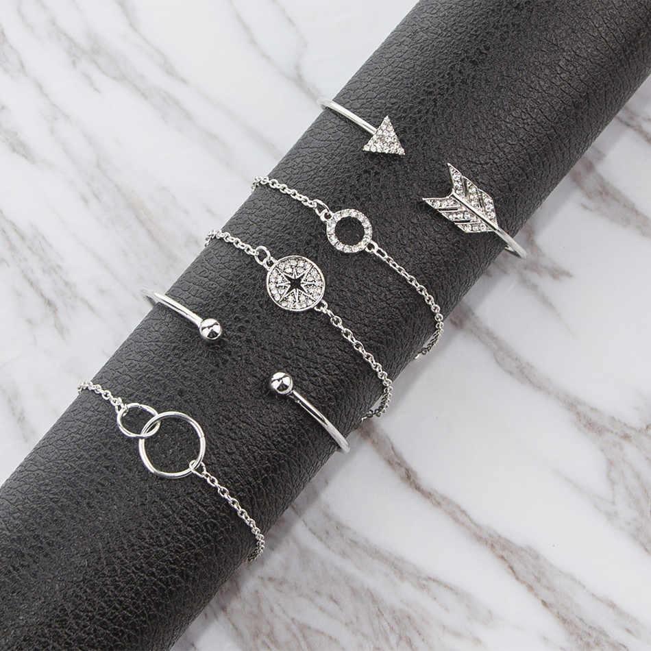 Thời trang Cổ Điển Mũi Tên Vòng Tròn Quyến Rũ Vòng Tay Người Phụ Nữ Hollow Tình Yêu Pha Lê Đôi Vòng Tròn Tie knot Chuỗi Vòng Đeo Tay Nữ Thiết Đồ Trang Sức