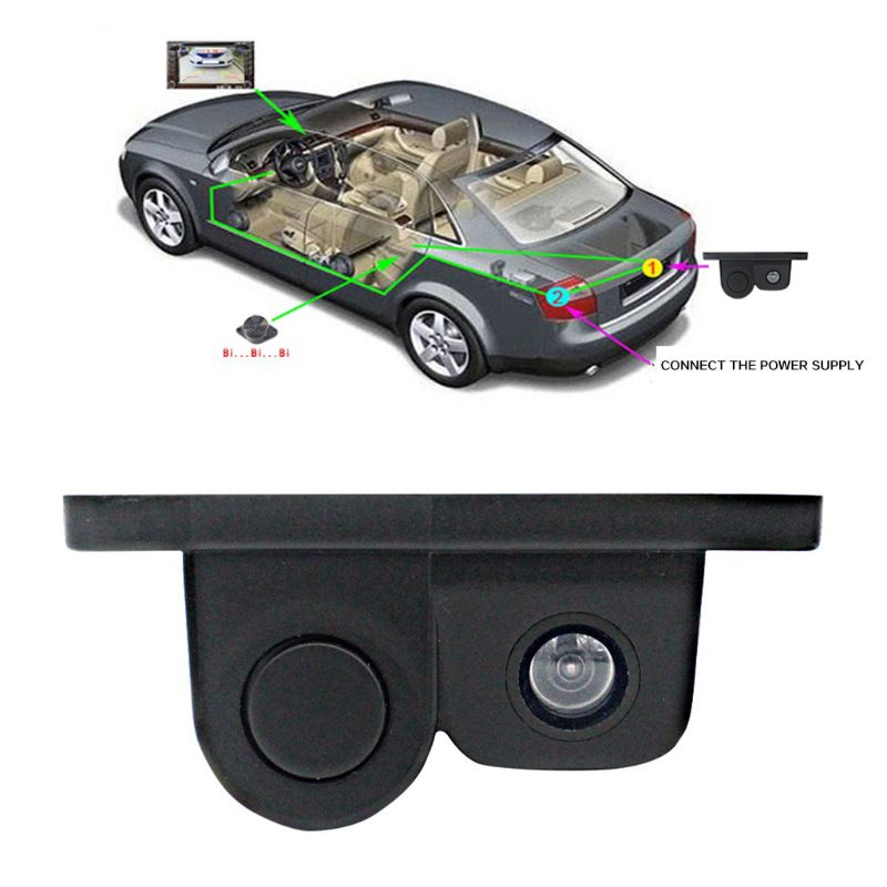 Image 2 - Car Intelligent Visual Reversing Radar Image Two In One Car Buzzer HD Night Vision Reversing Image Car Radar Camera-in DVR/Dash Camera from Automobiles & Motorcycles