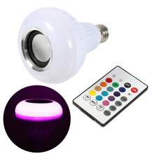 E27 12W LED RGB Bluetooth Speaker Bulb Wireless Music Playing Light Lamp With Remote Control