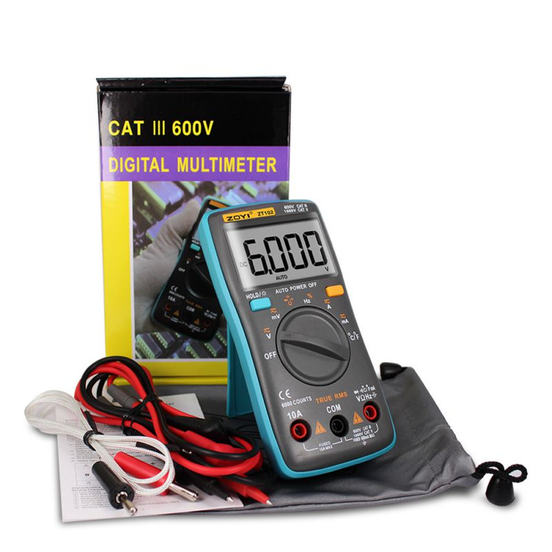 High Quality ZT102 AC/DC Multimeter 6000 Counts Back Light Ammeter Voltmeter Ohm Frequency Diode Temperature Multimetro