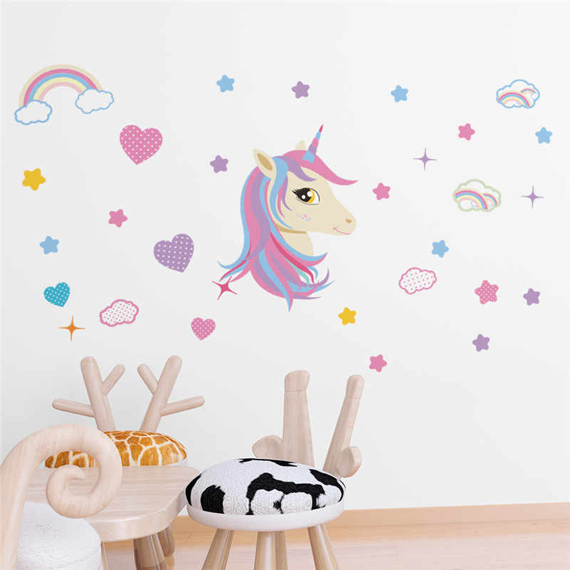 Colorful Unicorn Moon Star Rainbow Height Measure Wall Stickers Kids Room Children Bedroom Nursery Wall Decal Poster Mural