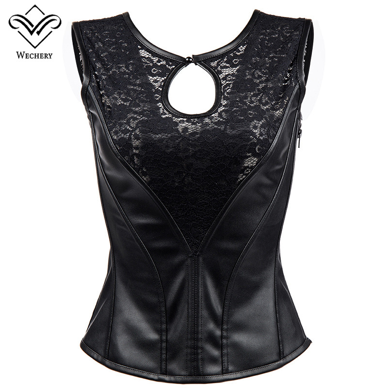 Wechery Leather Gothic   Bustier   Sexy Transparent   Corset   for Women Belly Shaper Tops Black Hollow Out Overbust Clothing