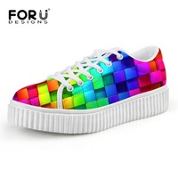 FORUDESIGNS Women Shoes 2016 Girls Lace Up Casual Shoes Spring Female Fashion Mixed Color Platform Shoes