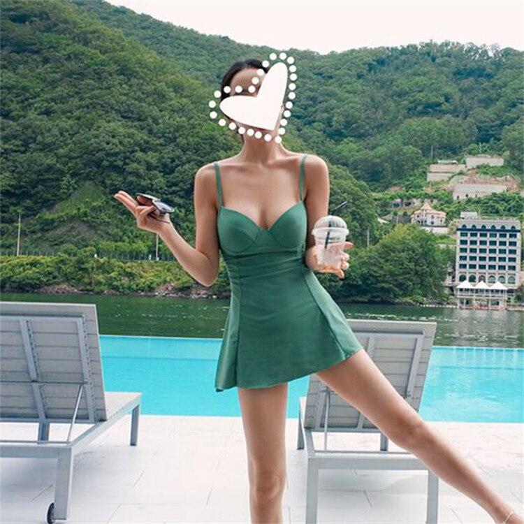 Swimwear Dress Women One Piece 2018 Summer Beach Wear Push Up Plus Size Hot Spring Swimsuit Skirt Size S~XXL женское платье summer dress 2015cute o women dress