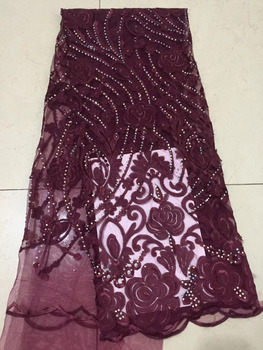 Latest Wine Red African Laces Fabrics Embroidered Stones African French Tulle Lace Fabric 2018 African French Net Lace Fabrics
