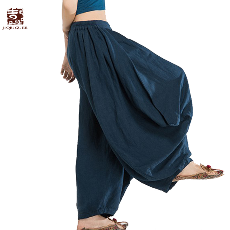 Jiqiuguer Women Harem   Pants     Wide     Leg     Pants   Linen Spring 2019 Trousers Loose Vintage Casual Women's   Pants   Large Size G143K001