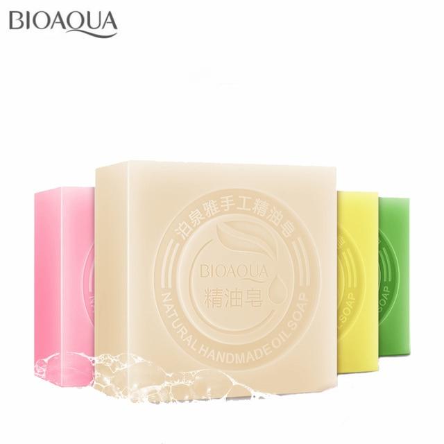 BIOAQUA Natural Plant Essential Oil Handmade Soap Whitening Moisturizing Remove Acne Clean Bath Soap Bamboo Charcoal Soap 100g 4
