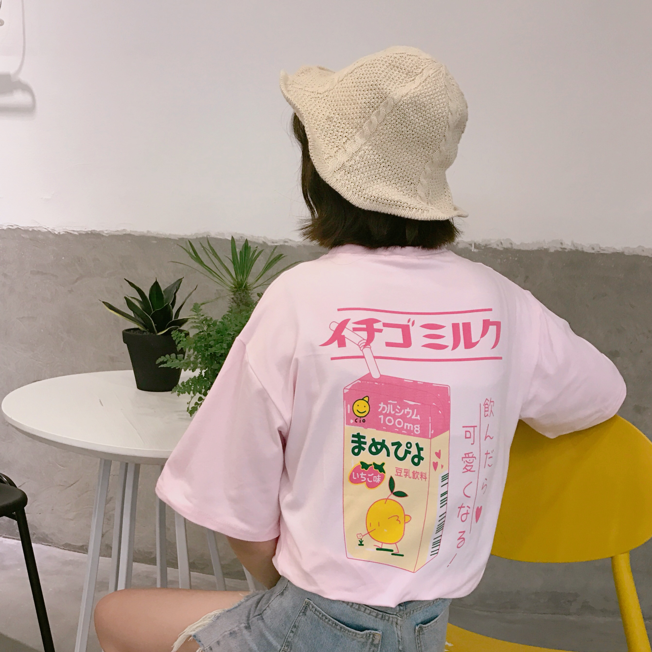 2017 sommer Japanischen brief nette frische einfache weiche baumwolle adrette kurzarm weibliche t-shirts