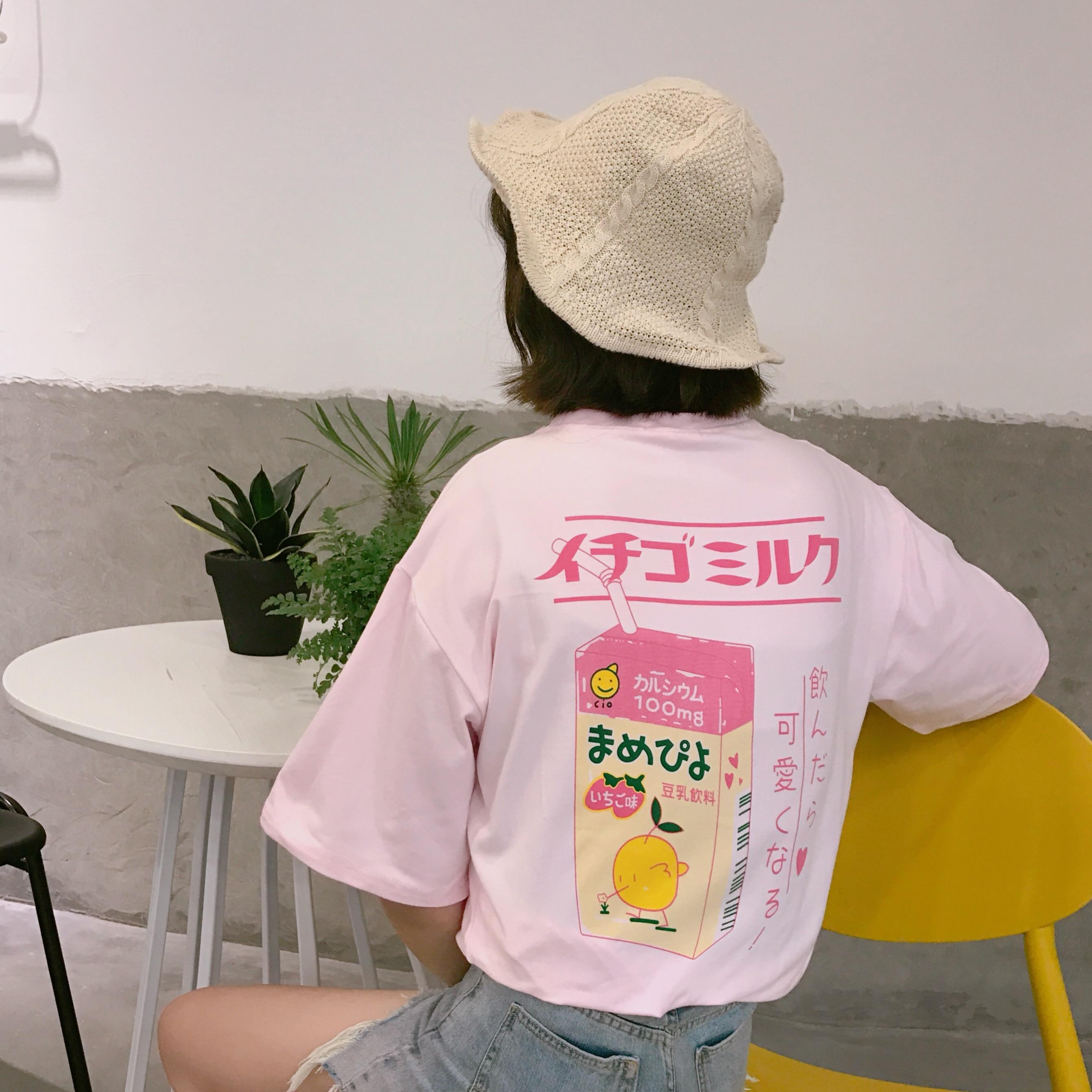 2017 sommer Japanischen brief niedlichen frische einfache weicher baumwolle adrette kurzhülse frau t-shirts