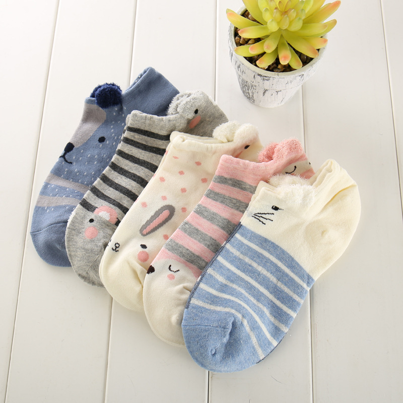 Underwear & Sleepwears Ixuejie 5pairs/lot Fashion Women Socks Animal Ear Plush Cute Sweet Cat Invisible Socks Puppy Cats Bunny Cartoon Women Sock Sock Slippers