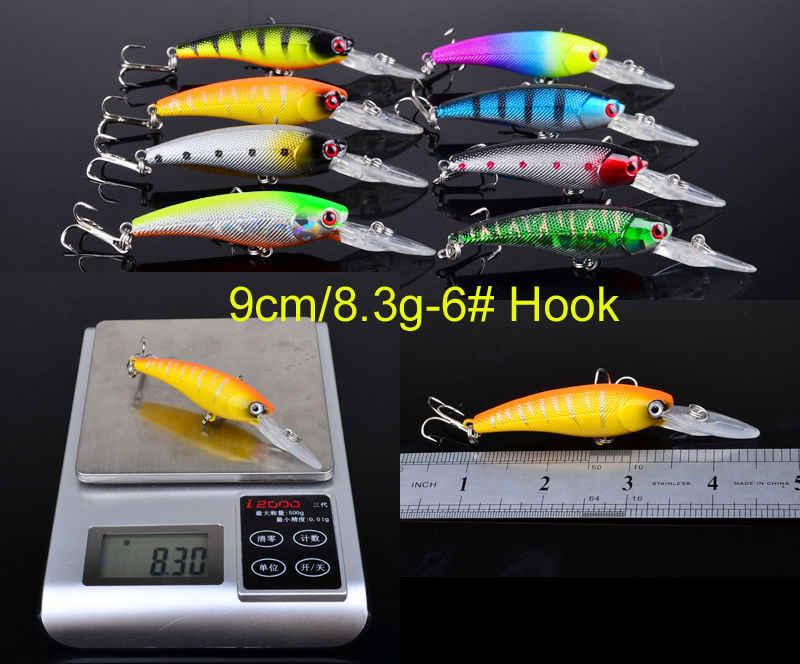 20 Pcs/lot ensemble mixte leurres de pêche 9-9.65mm méné manivelle triple crochet Wobblers pêche en mer carpe Pesca Jerkbait pour lac rivière