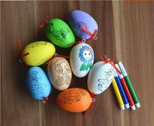 iWsh Easter Day Sunday Drawing Eggs For Children DIY Hand-Painted Egg Set Kids Drawed Toy Simulation Hand Painting Plastic Color